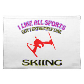 Skiing designs place mats