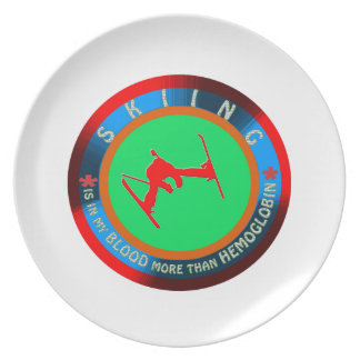 Skiing designs plates