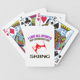 Skiing designs poker deck
