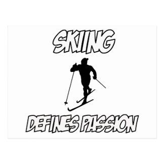 skiing designs postcard