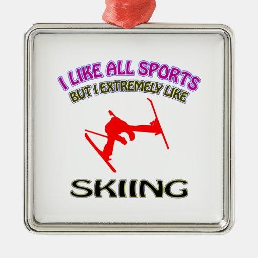 Skiing designs square metal christmas ornament