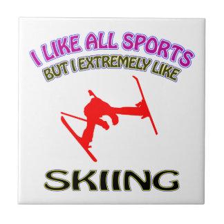 Skiing designs tile