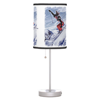Skiing Down the Mountain in Red Desk Lamp