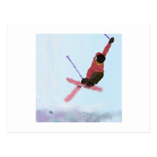 Skiing Downhill Art Postcard