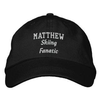 Skiing Fanatic Custom Name V07M Embroidered Baseball Hat