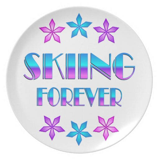 Skiing Forever Party Plates