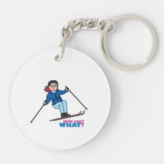 Skiing Girl Light/Red Keychain