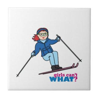 Skiing Girl Light/Red Tiles
