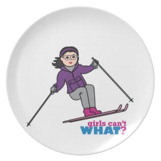 Skiing Girl - Medium Dinner Plates