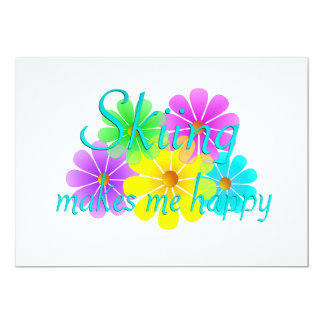 Skiing Happiness Flowers Card