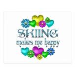 Skiing Happiness Postcard