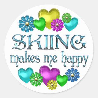 Skiing Happiness Round Sticker