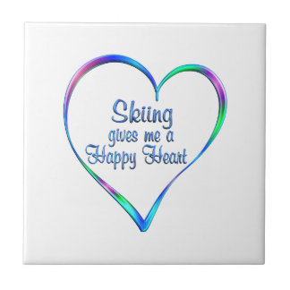 Skiing Happy Heart Tile