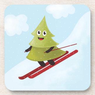 Skiing Happy Pine Tree Winter Drink Coaster
