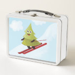 """Skiing Happy Pine Tree Winter Metal Lunch Box<br><div class=""""desc"""">Cute winter metal lunch box with a funny illustration of a smiling happy pine tree which loves to ski downhill in the winter. It has lovely red ski and is descending with high speed over a snowy slope. The blue sky is clear and a few white clouds only brighten it...</div>"""