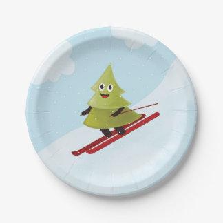 Skiing Happy Pine Tree Winter Paper Plate