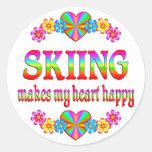 Skiing Heart Happy Round Stickers