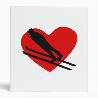 Skiing Heart Vinyl Binder