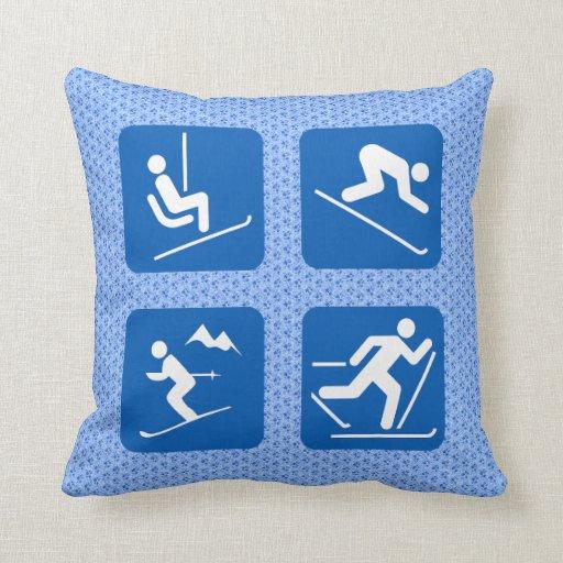 Skiing Icons Throw Pillow