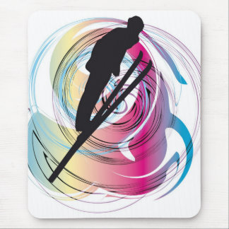 Skiing illustration mouse pad