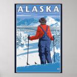 Skiing in Alaska Vintage Travel Poster