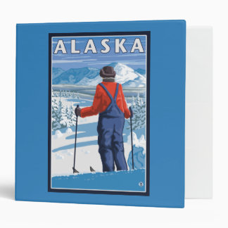 Skiing in Alaska Vintage Travel Poster 3 Ring Binder