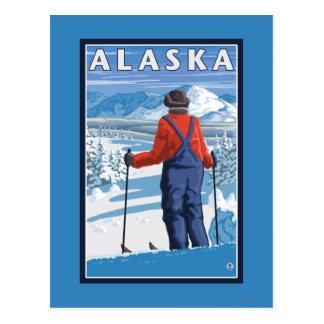 Skiing in Alaska Vintage Travel Poster Postcard