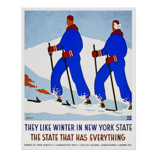 Skiing in New York State - Vintage Decor Poster
