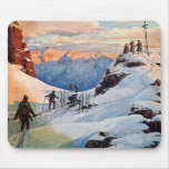 Skiing in the Mountains Mouse Pads