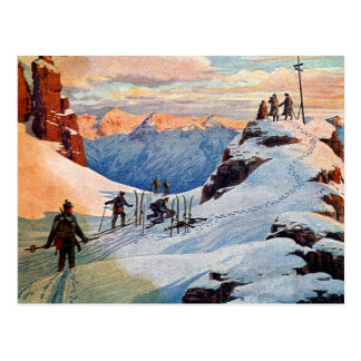 Skiing in the Mountains Postcard