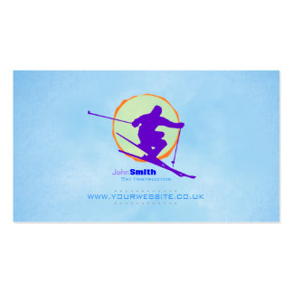 Skiing Instructor Business Card (Sun Backdrop)