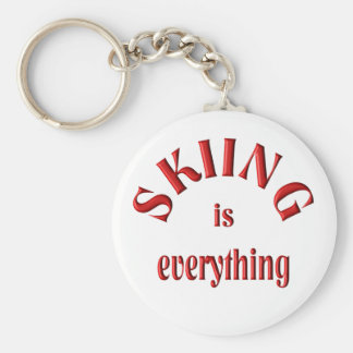 Skiing is Everything Basic Round Button Keychain