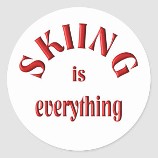 Skiing is Everything Classic Round Sticker