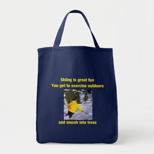 Skiing is great fun canvas bags