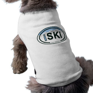 "Skiing ""iSKI"" Oval Colorado Mountain Tag Dog Shirt"