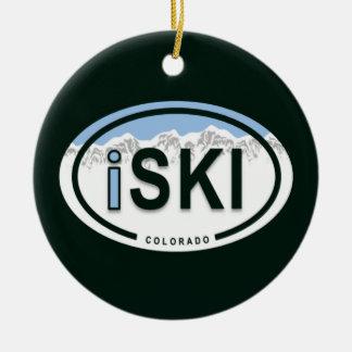 "Skiing ""iSKI"" Oval Colorado Mountain Tag Ornament"