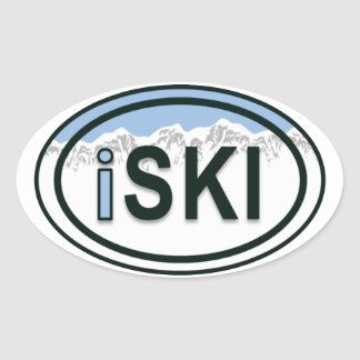 Skiing iSKI Oval Mountain Tag Stickers