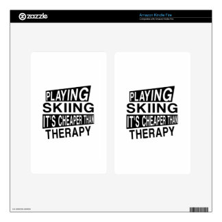 SKIING IT IS CHEAPER THAN THERAPY KINDLE FIRE SKIN