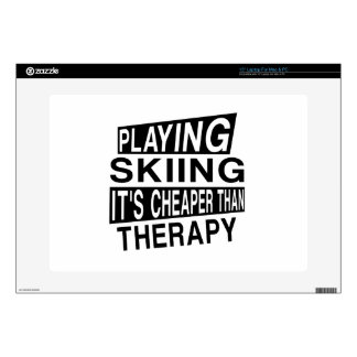 SKIING IT IS CHEAPER THAN THERAPY LAPTOP SKINS
