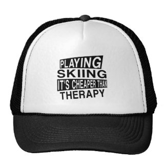 SKIING IT IS CHEAPER THAN THERAPY TRUCKER HAT