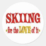 Skiing Love Classic Round Sticker