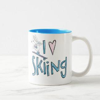 Skiing love cute bunny coffee mug