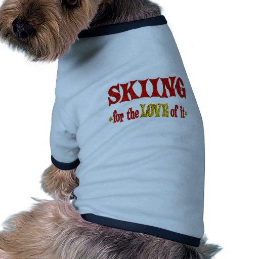 Skiing Love Doggie Tee Shirt