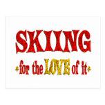 Skiing Love Postcard