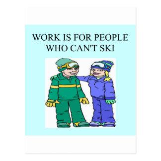 skiing lovers postcard