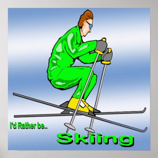 Skiing Man Poster
