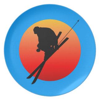 skiing melamine plate