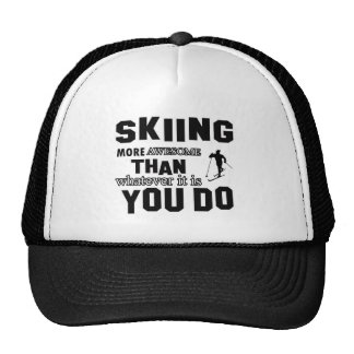skiing more awesome trucker hat