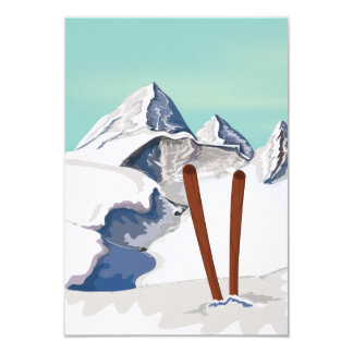 Skiing Mountains 3.5x5 Paper Invitation Card