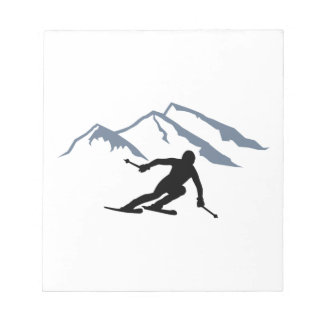 Skiing mountains notepad